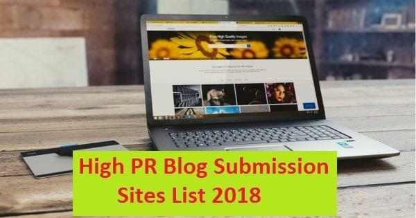 High PR Blog Submission Sites List
